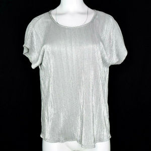 NY Collection Womens Crinkle Metallic Top New